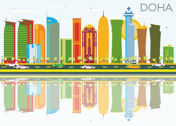 illustrations, cliparts, dessins animés et icônes de skyline de doha avec bâtiments de couleur, bleu ciel et reflets. - doha