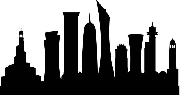 illustrations, cliparts, dessins animés et icônes de doha (tous les bâtiments sont complets et reportables) - doha