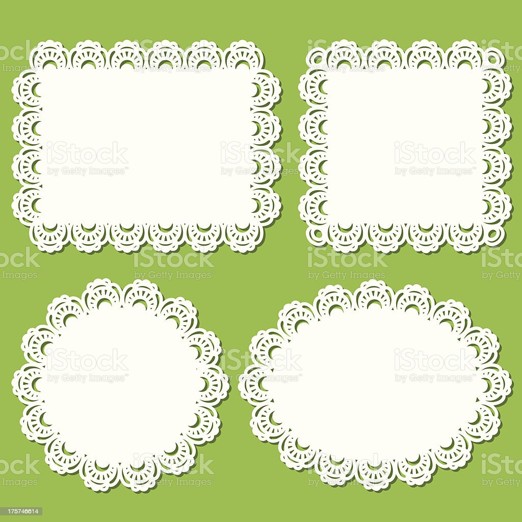 Doily And Frame Set (Green) vector art illustration