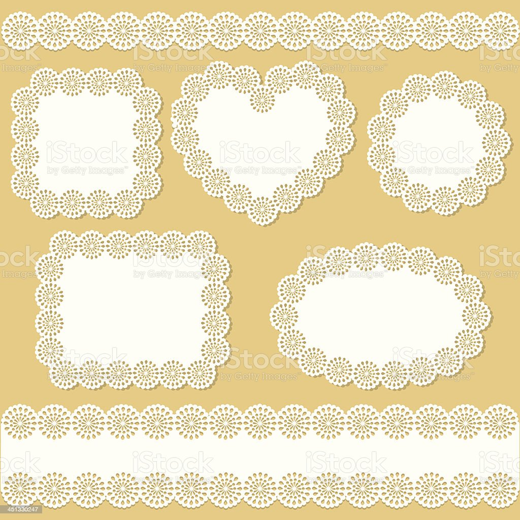 Doily And Frame Set vector art illustration