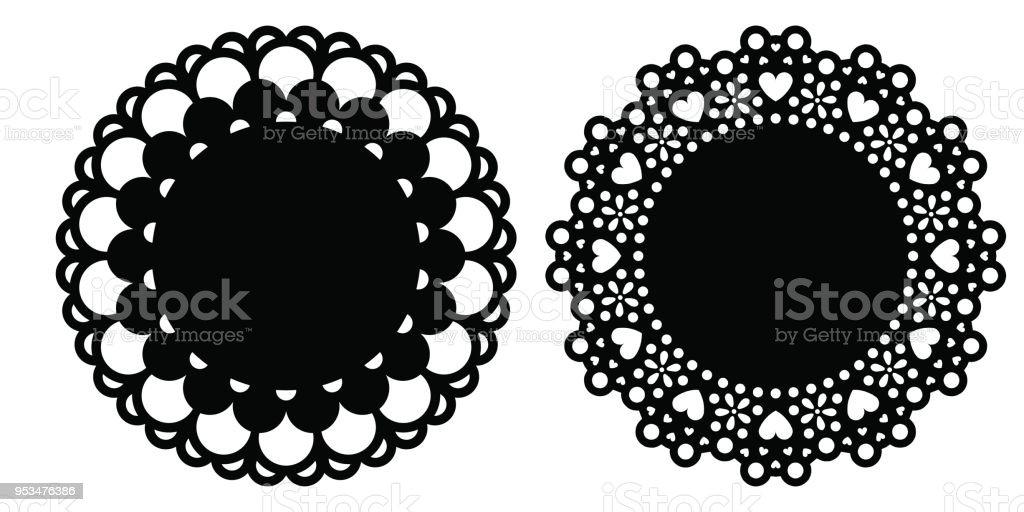 Doily decoration set vector illustrations vector art illustration