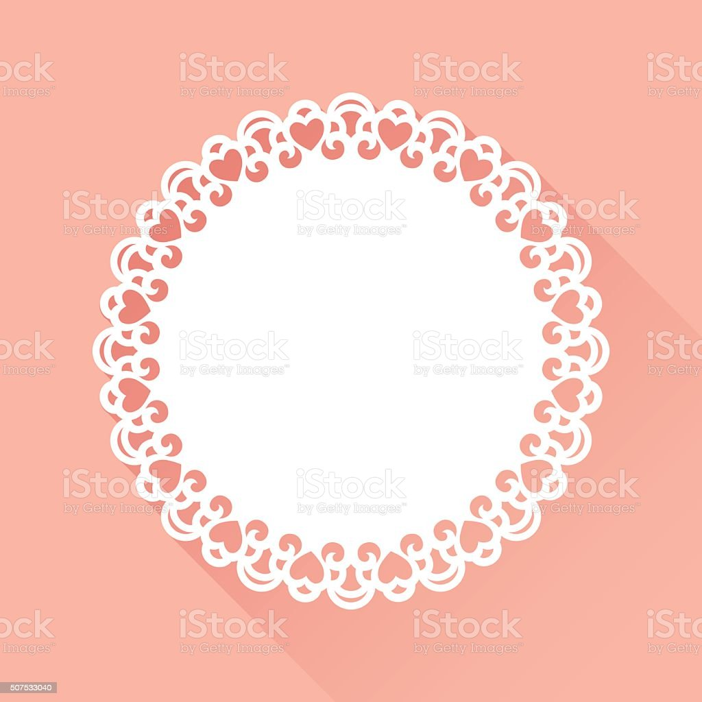 Doily Heart Pattern vector art illustration