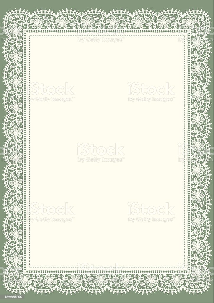Doily. White Lace. Floral Frame. Green Background. vector art illustration