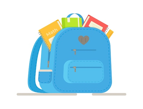 Doing homework. Open isolated backpack with school things.