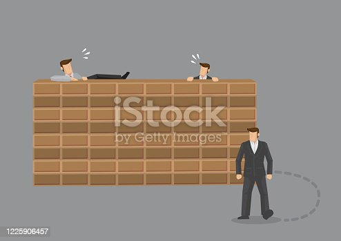 Two men trying to climb over brick wall and third man found just go around it. Creative vector illustration on metaphor for doing things the hard way versus out of box thinking for problem solving concept.