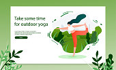 Yoga Practices School Flat Vector Horizontal Web Banner or Landing Page Template with Woman Doing Yoga Exercises in City Park Illustration. Outdoor Activity and Fitness Workout on Fresh Air Concept