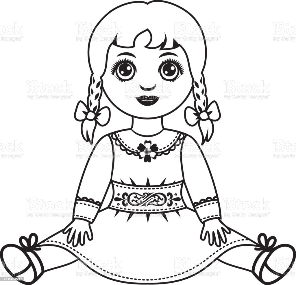 Line Art Doll House : Doll childrens toy stock vector art more images of