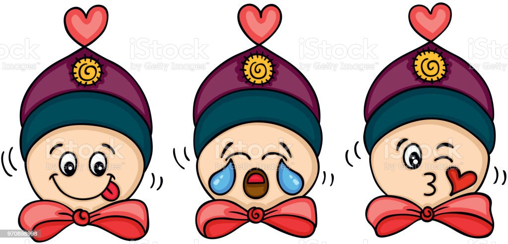 Doll different facial expression face vector art illustration
