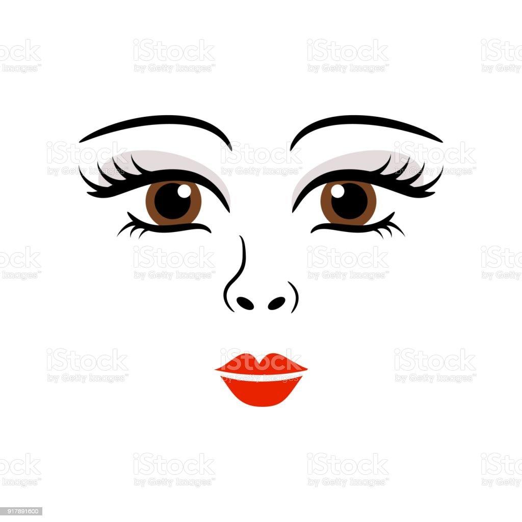 人形少女女性かわいい顔テンプレート ベクトル 1人のベクターアート