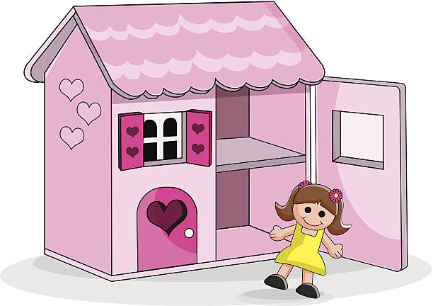 Doll House A pink dolls house with front open and doll wearing yellow dress dollhouse stock illustrations