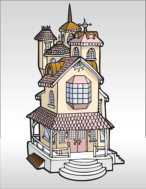Doll House A beautiful doll house mansion is shown in this series of houses.  This house has three stories with tile roof, and a weather vane.  A wraparound porch with a wood railing and half-circle steps are on the first floor.  A bay window adorns the front of the second story and the third story has turrets and a spire.  It is in colors of pink and peach. dollhouse stock illustrations