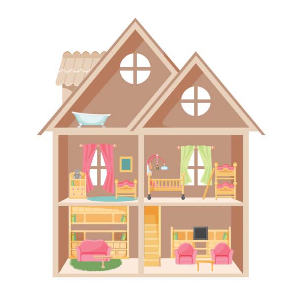 puppenhaus mit zwei stockwerken und kleine möbel - dachboden stock-grafiken, -clipart, -cartoons und -symbole