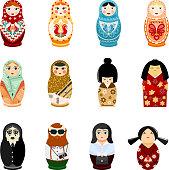 Doll matryoshka vector matrioshka russian toy traditional symbol of Russia national matreshka of different nationalities tourist Japanese arab illustration isolated on white background