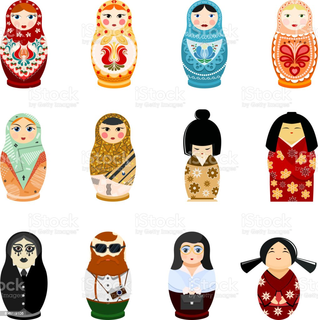 Doll matryoshka vector matrioshka russian toy traditional symbol of Russia national matreshka of different nationalities tourist Japanese arab illustration isolated on white background vector art illustration