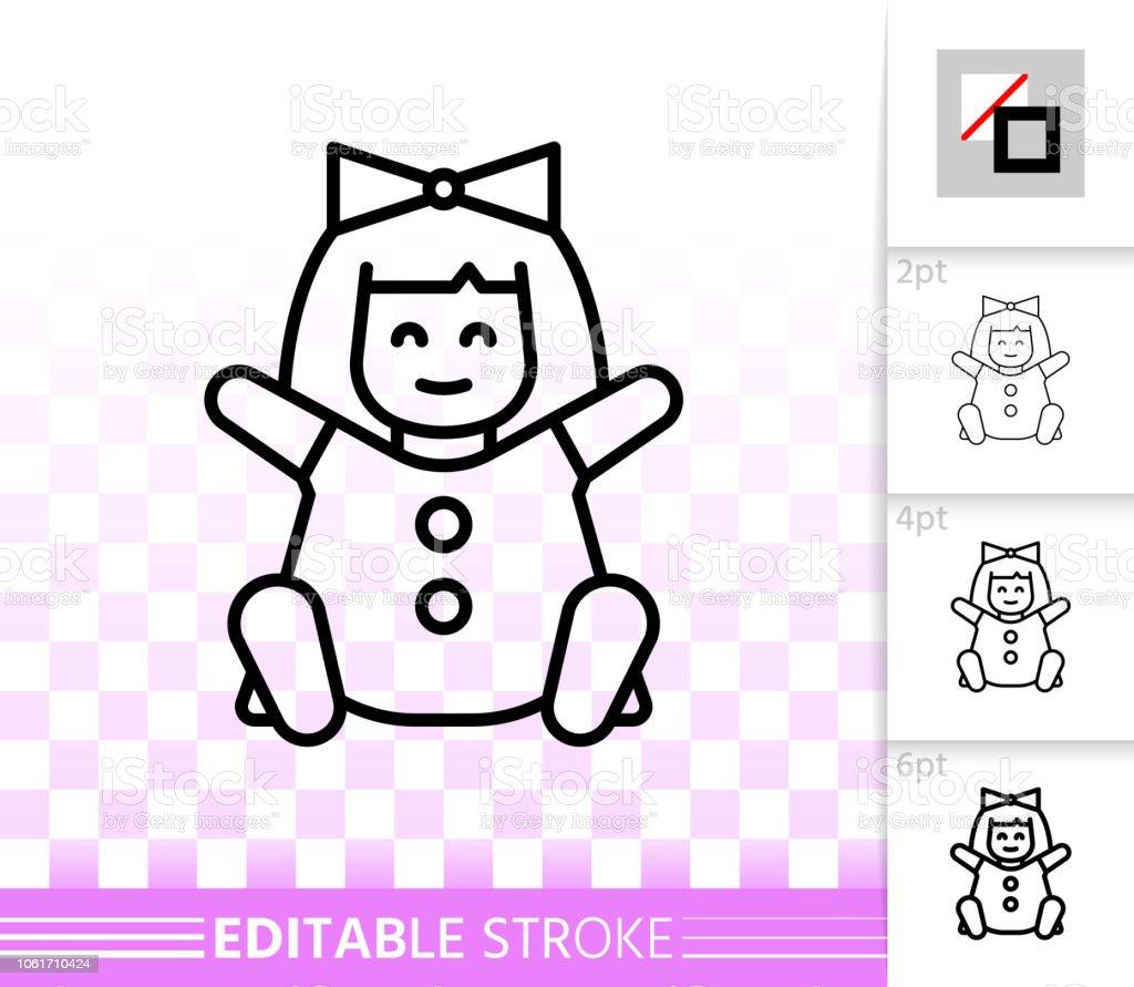 Doll simple black line symbol toy vector icon - ilustração de arte vetorial