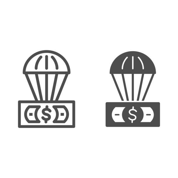 доллар и воздушный шар линии и твердые значок, финансы концепции, необеспеченной валюты в воздушном знаке на белом фоне, воздушный шар с дол - hot air balloon stock illustrations