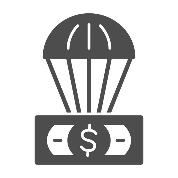 доллар и воздушный шар твердых значок, финансы концепции, необеспеченной валюты в воздушный знак на белом фоне, воздушный шар с долларом сш� - hot air balloon stock illustrations