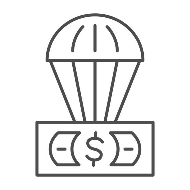 доллар и воздушный шар тонкая линия значок, финансы концепции, необеспеченной валюты в воздушный знак на белом фоне, воздушный шар с доллар� - hot air balloon stock illustrations