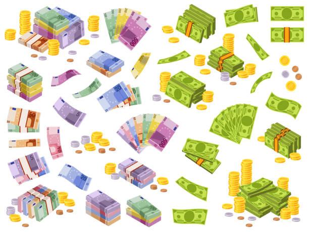 dollar- und euro-banknoten. isometrisches bargeld, verschiedene währungen dollar und euro bundles und münzen 3d finanzielle auszeichnungen vektor-set - euros cash stock-grafiken, -clipart, -cartoons und -symbole