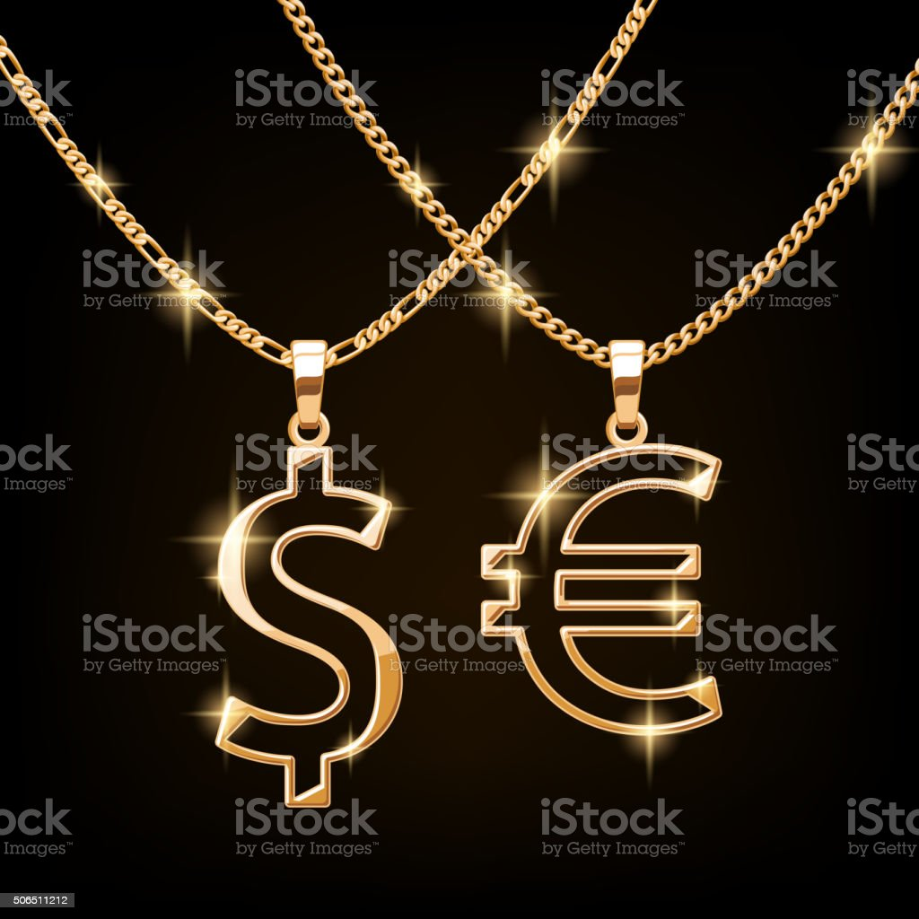Dollar and euro sign jewelry necklace on golden chain vector art illustration
