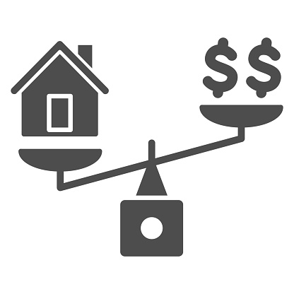 Dollar and house balance solid icon, finance concept, money and property on scales sign on white background, weighing or compare home and money icon in glyph style. Vector graphics.