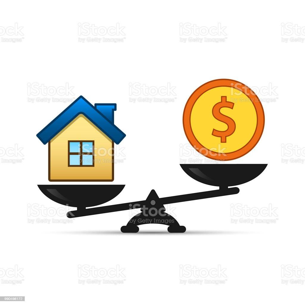Dollar Und Haus Waagesymbol Geld Und Haus Gleichgewicht Im Maßstab ...
