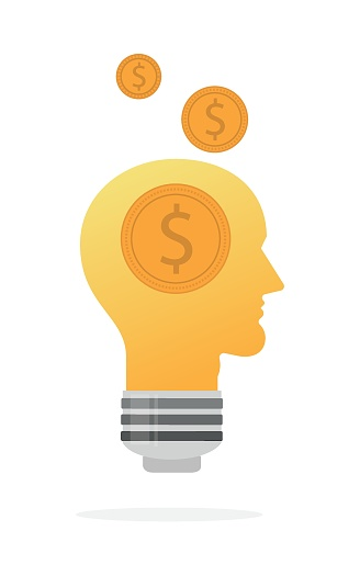 dollar and light bulb icon. new and creative business idea and money concept. editable vector design.