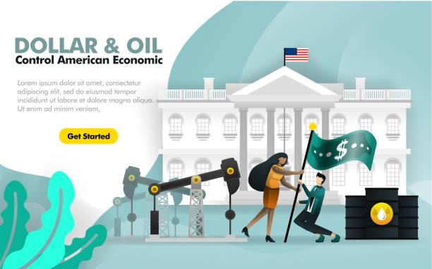 dollar and oil control american economy. with white house background and two people flying dollar flag surrounded by oil refinery. can use for, landing page, template, web, mobile app, poster, banner. can use for, landing page, template, ui, web, homepage - white house stock illustrations