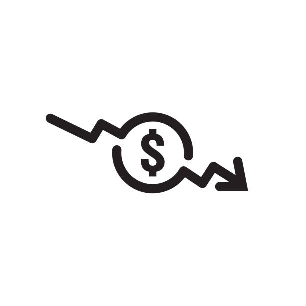 dollar arrow decrease icon. money arrow symbol. economy stretching rising drop fall down. business lost crisis decrease. lower cost, reduction bankrupt icon. vector illustration. - lost stock illustrations