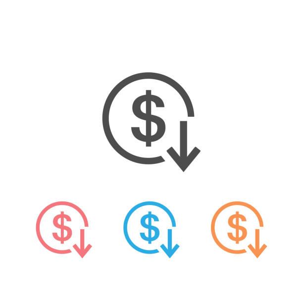 달러 화살표 아래로 속도 감소 가격 가치 금융 아이콘 설정 기호 상승 사업. 벡터 - 낮음 stock illustrations