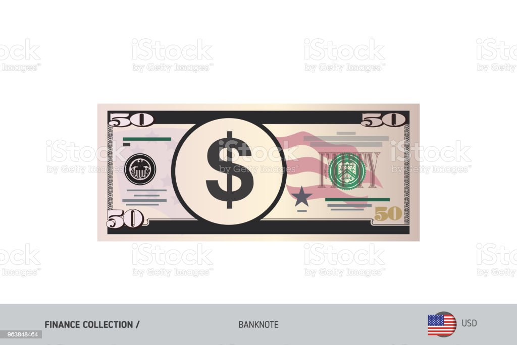 50 US Dollar Banknote. Flat style highly detailed vector illustration. Isolated on white background. Suitable for print materials, web design, mobile app and infographics. - Royalty-free Abstract stock vector