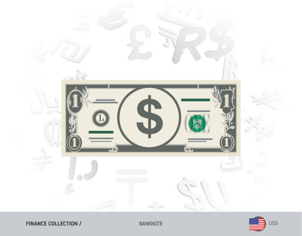 1 us dollar banknote flat style vector illustration isolated on currency background finance concept