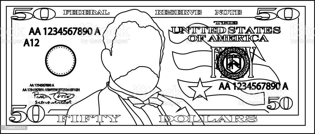 50 US dollar banknote outline vector art illustration