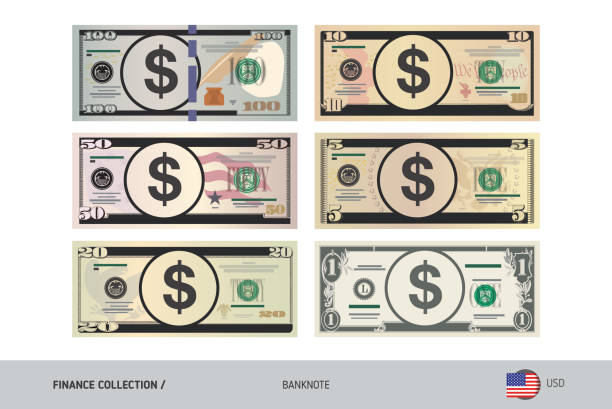 US Dollar Banknote set. Flat style highly detailed vector illustration. Isolated on white background. Suitable for print materials, web design, mobile app and infographics. Finance collection us currency stock illustrations