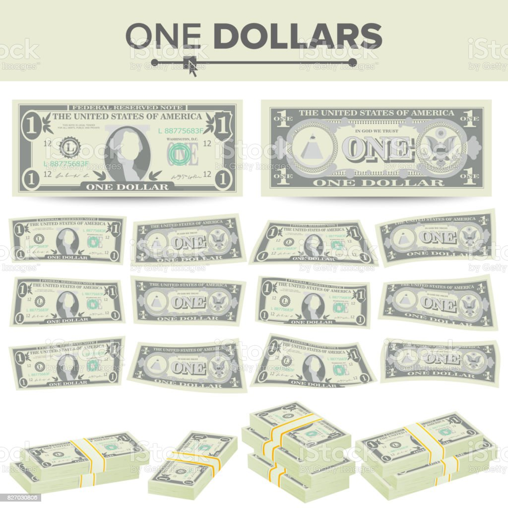 1 Dollar Banknote Vector Cartoon Us Currency Two Sides Of One