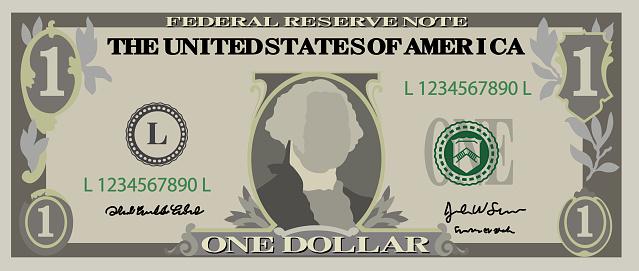 1美元鈔票向量圖形及更多一美元鈔票圖片