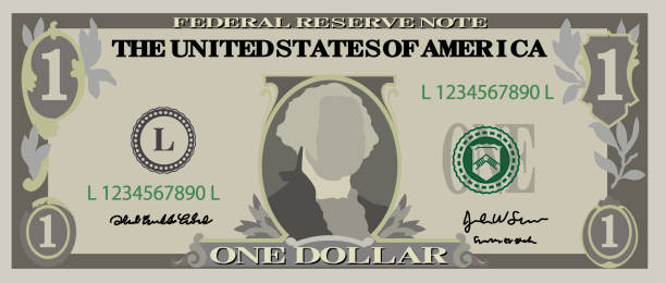 1 us dollar banknote - dollar bill stock illustrations
