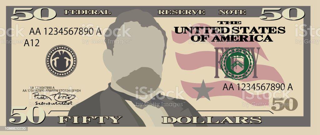 50 US dollar banknote vector art illustration