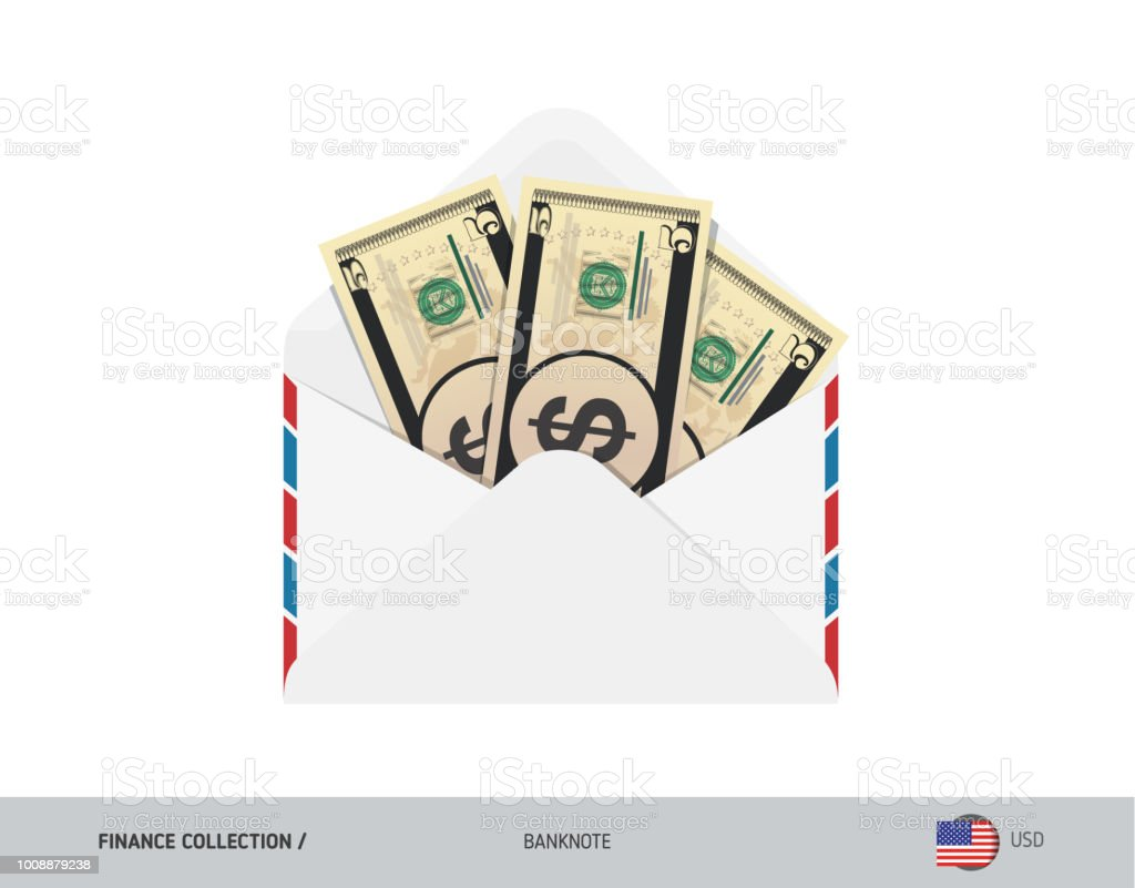 5 Us Dollar Banknotes In Envelope Flat Style Opened White