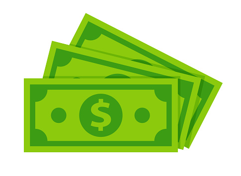 dollar banknotes isolate on white background.