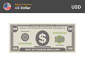 istock 100 US Dollar bill. American one hundred dollar bill. Money banknote. Currency vector set. Stylized drawing of bills. Flat vector illustration. 1289529303
