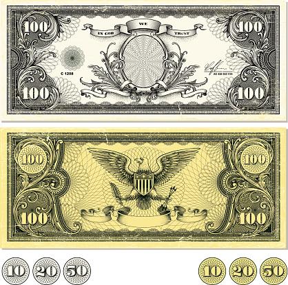 Dollar Bill Design in two color variations, front side, back side. Eps9