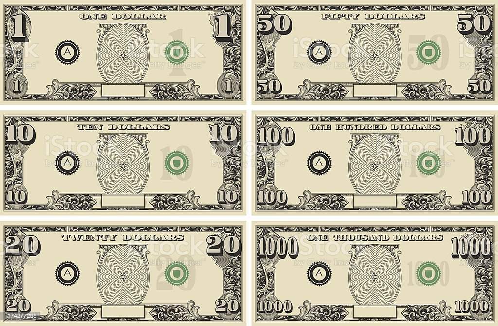 royalty free american one dollar bill clip art vector images rh istockphoto com dollar bill clip art that can be modified dollar bill clip art free