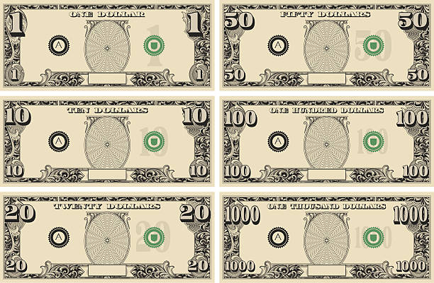 dollar bill money kit - dollar bill stock illustrations