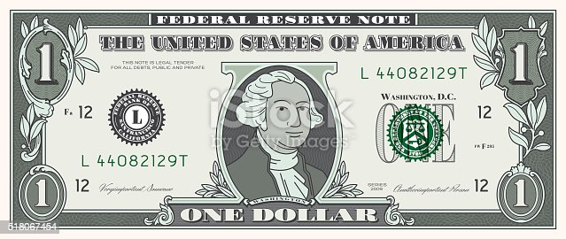 istock Dollar Bill ONE USD money currency 518067454