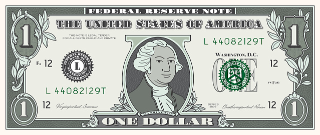 One dollar bill (USD), money currency, finances. High resolution JPG, PDF, PNG and AI files available with this download.