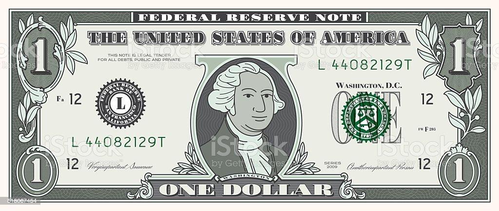 Dollar Bill ONE USD money currency vector art illustration