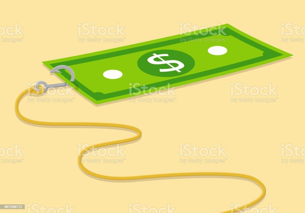 Dollar bill with a hook vector illustration vector art illustration