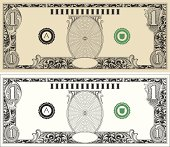Dollar Bill with engraved scrollwork