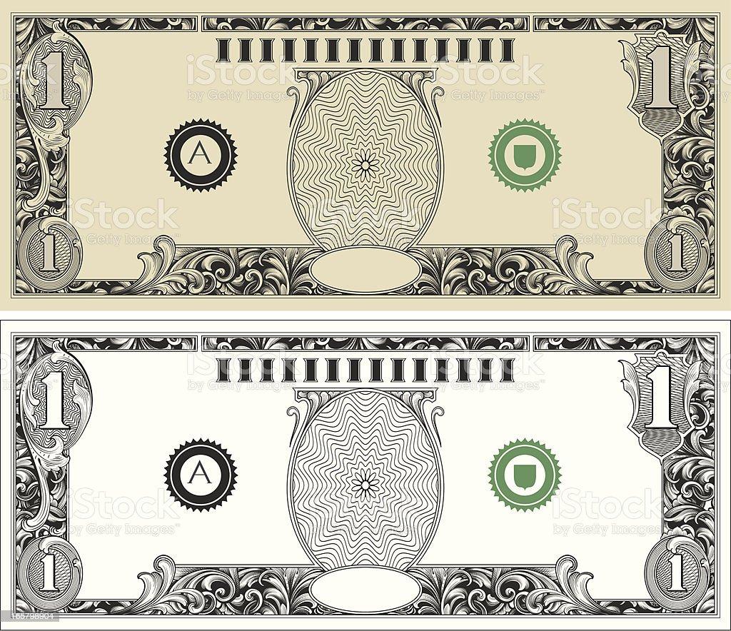 Dollar Bill with engraved scrollwork vector art illustration